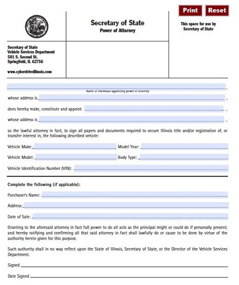 blank power of attorney form illinois vehicle power of attorney form illinois pdf fillable