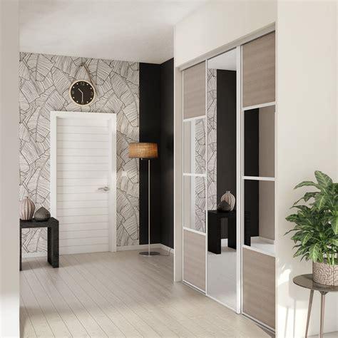 porte de placard cuisine porte de placard coulissante magnolia miroir spaceo l 67 x h 250 cm leroy merlin