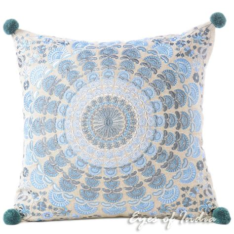 Colorful Sofa Pillows by Blue Silver Colorful Decorative Embroidered Mandala