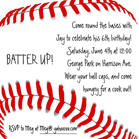 baseball invitation template baseball invitation birthday invitations from cardsdirect