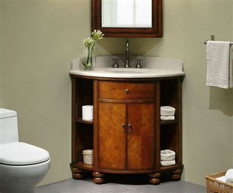 Carlton Inch Corner Bathroom Vanity Cherry Veneer Finish