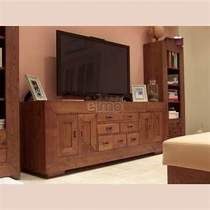 grand buffet meuble television rustique tout bois massif clara With un buffet meuble