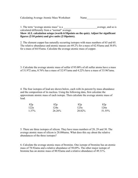 worksheet calculating atomic mass worksheet grass fedjp