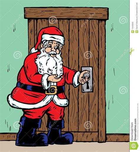 the door santa santa opening door stock photos image 11643593