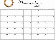 Free Download Printable October & November 2018 Calendar