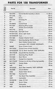 American Flyer Transformer 15b Parts List  U0026 Diagram