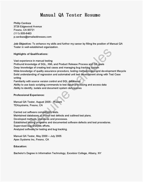 Manual Testing Resume by Resume Sles Manual Qa Tester Resume Sle