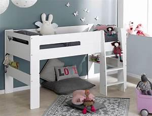 Lit Mezzanine Mi Hauteur : lit mi hauteur enfant london blanc 90 190 chambrekids ~ Melissatoandfro.com Idées de Décoration