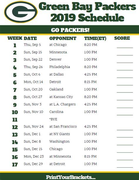 printable green bay packers schedule  season