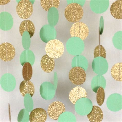 Mint Green And Gold Garland Paper Garland Mint Garland