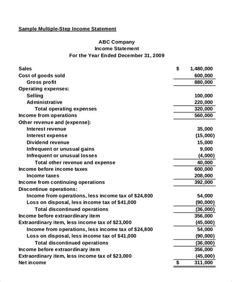 income statement    excel word documents