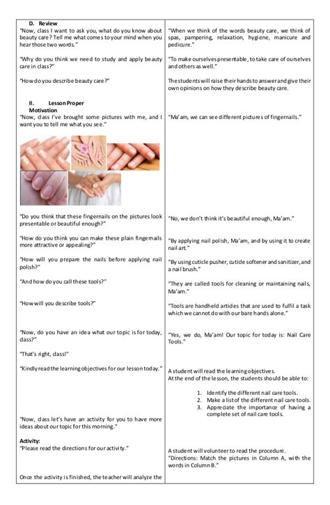 detailed lesson plan intle beauty care nail care