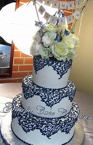 navy blue and gold wedding cake - Google Search | cake ...