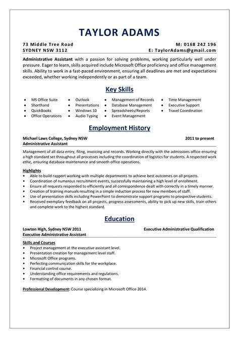 Administrative Assistant Key Skills For Resume by An Administrative Assistant Resume Sle Absolutely Free