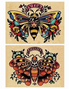 Old School Tattoo Art Flash BEE Butterfly & Skull MOTH ...