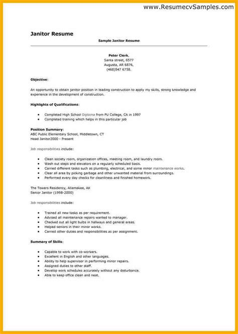 Maintenance Resume Highlights by 8 Janitorial Resume Bursary Cover Letter