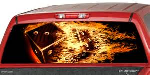 dodge truck tailgate flaming dices burning rear window graphic decal sticker
