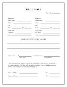 Free Printable General Bill of Sale Form