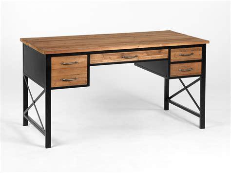 table cuisine en pin bureau en métal et bois avec 4 tiroirs longueur 146cm clayton