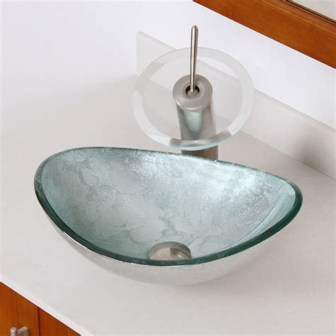 photos of vessel sinks elite 1412 unique oval artistic silver tempered glass