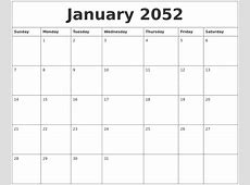 January 2052 Blank Schedule Template