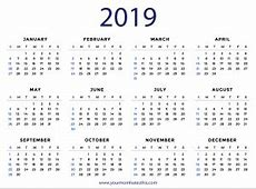 2019 Calendars – Download Printable PDF Calendar Templates