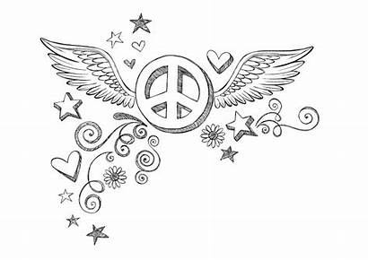 Peace Coloring Sign Pages Wings Printable Hearts