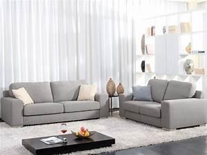Canapé 2 3 Places : canap fixe tissu victor 3 2 places 54018 ~ Teatrodelosmanantiales.com Idées de Décoration