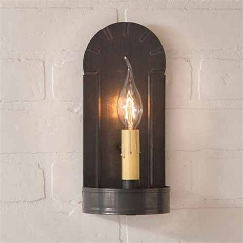 Country Sconces - fireplace single arm wall sconce in blackened tin by irvin