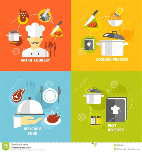 illustration cuisine cooking icons flat stock vector image 40174991