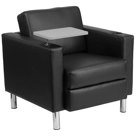 black leather guest chair with tablet arm chrome