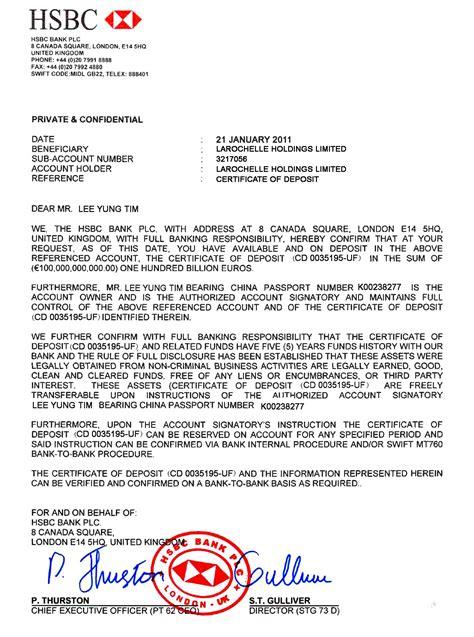 bank confirmation letter sample bank