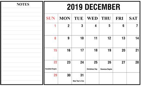 december  calendar  holidays printable template