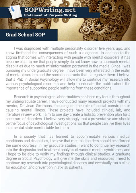 statement  purpose graduate school
