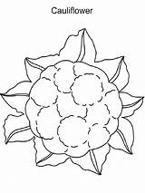 Cauliflower Coloring Pages Drawing Vegetables Recommended Getdrawings sketch template