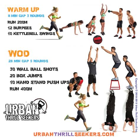 ball wall workout wod warm crossfit kettlebell workouts box run swings jump shots ups jumps 200m burpees push exercises emom