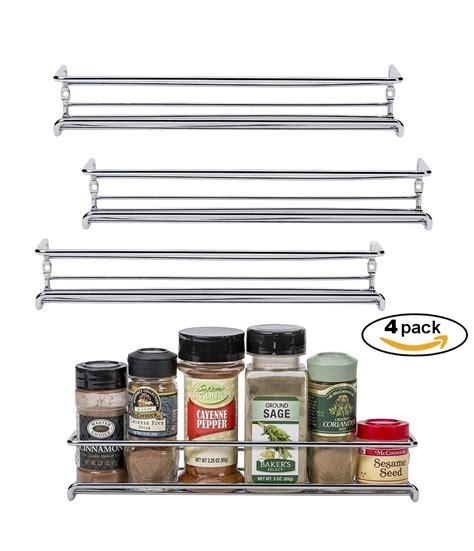 Wall Mounted Chrome Spice Rack by Set Of 4 Chrome Wall Mount Spice Racks Single Tier