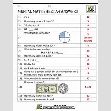 2nd Grade Mental Math Worksheets