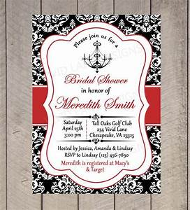 bridal shower printable invitation chandelier black With free printable red and black wedding invitations