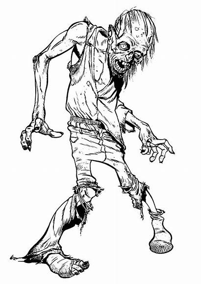 Zombie Walking Halloween Coloring Scary Pages Adults
