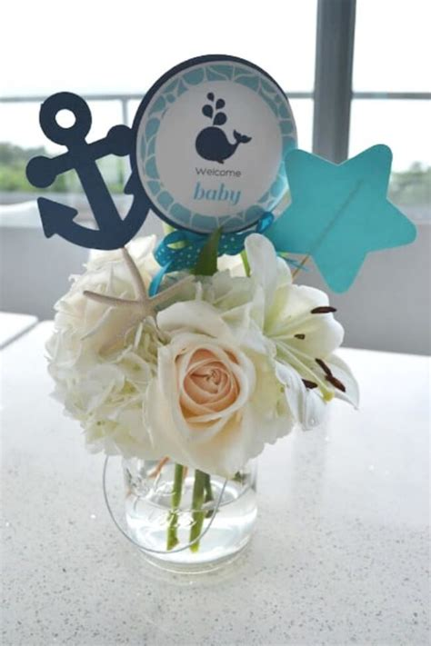 centerpieces for baby shower boy a boy s whale themed baby shower spaceships and laser beams
