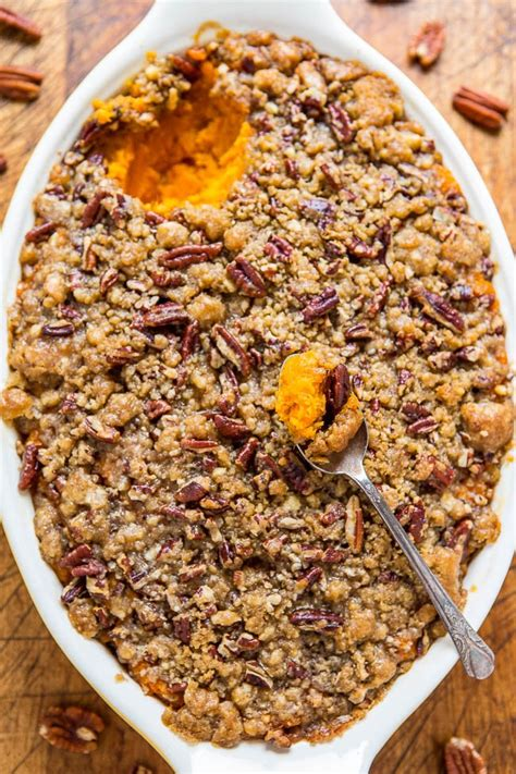 sweet potato casserole with pecan topping sweet potato casserole with butter pecan crumble topping easy thanksgiving side dishes