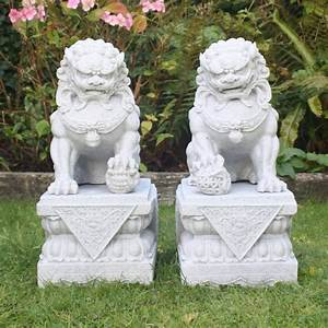 Large Foo Dogs Statues - Granite Chinese Fu Temple Lions ...
