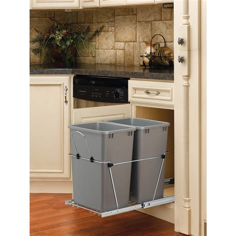 pull out garbage cabinet shop rev a shelf 35 quart plastic pull out trash can at