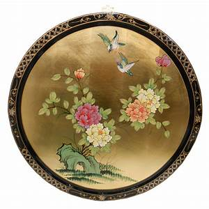 black and gold leaf lacquered oriental round hand painted With oriental wall art