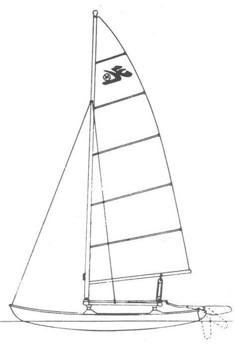 Catamaran Drawing by Hobie 14 Drawing On Sailboatdata Catamarans