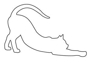 Stretching Cat Silhouette Outline