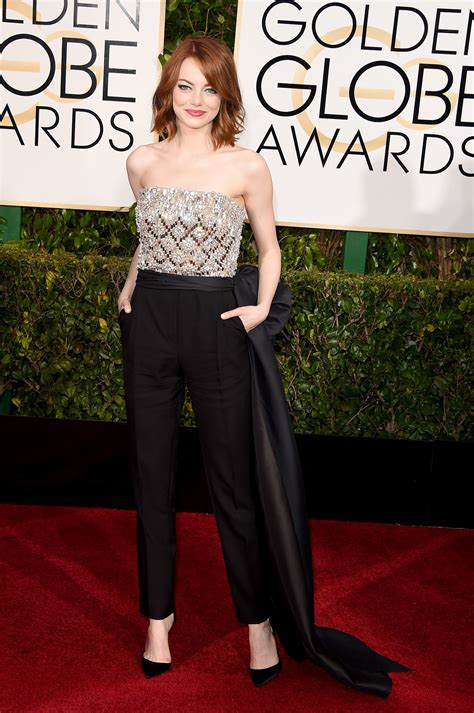 Emma Stone In Lanvin Jumpsuit At 2015 Golden Globes