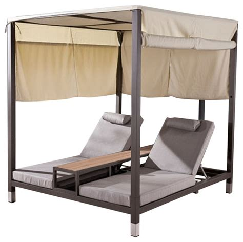 modern outdoor daybed with canopy and teak