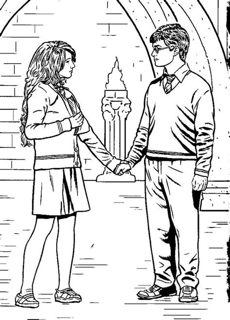 harry ron  hermione coloring pages halloween